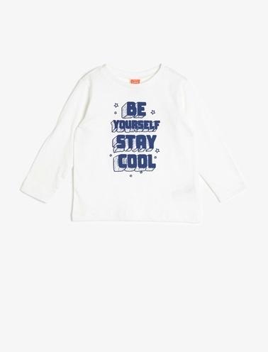 Koton Kids Baskılı T-Shirt Ekru